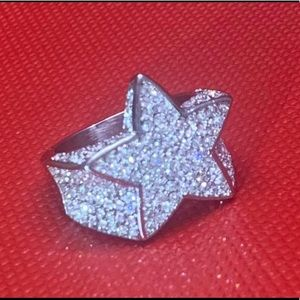 Other - Men's 14K White Gold plated Star Ring